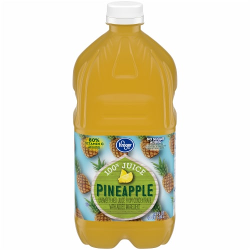 Kroger No Sugar Added 100% Pineapple Juice Perspective: front