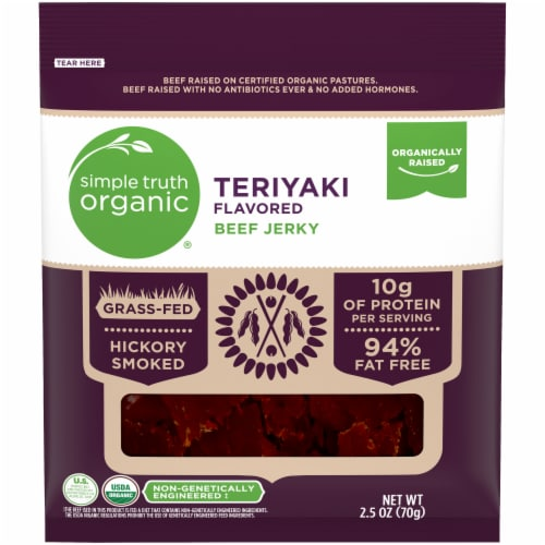 Simple Truth Organic® Teriyaki Flavored Beef Jerky Perspective: front