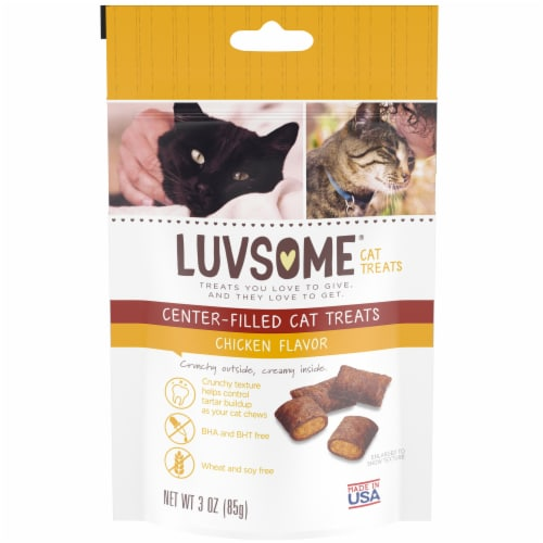 Luvsome® Chicken Flavor Center-Filled Cat Treats Perspective: front