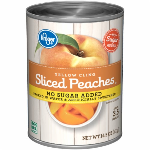 Kroger® No Sugar Added Yellow Cling Sliced Peaches Perspective: front