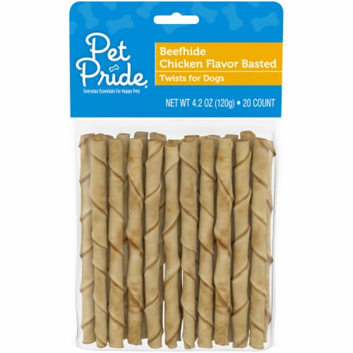 Pet Pride® Beefhide Chicken Flavor Basted Twists Dog Treats Perspective: front