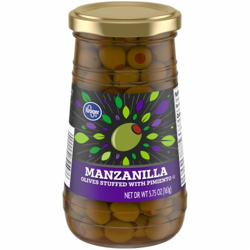 Kroger®  Manzanilla Olives Stuffed with Pimiento Jar Perspective: front