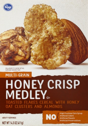 Kroger® Honey Crisp Medley Cereal with Honey Oat Clusters & Almonds Perspective: front