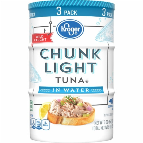 Kroger® Chunk Light Tuna in Water (3 Pack) Perspective: front