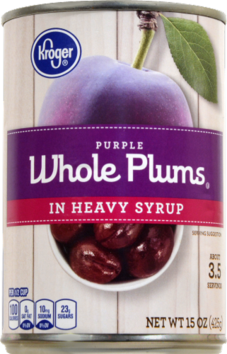 Kroger® Purple Whole Plums in Heavy Syrup Perspective: front
