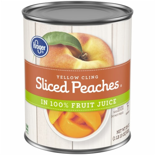 Kroger® Yellow Cling Sliced Peaches in 100% Fruit Juice Perspective: front
