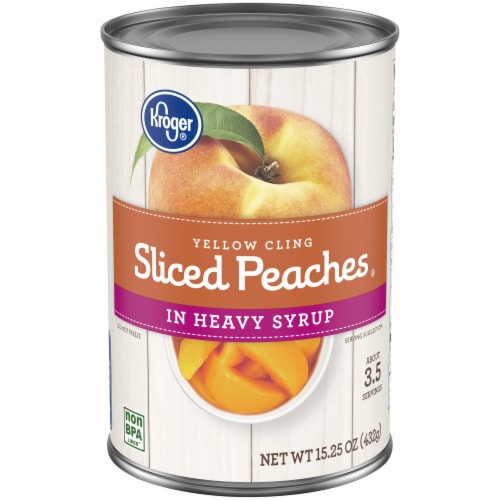 Kroger® Yellow Cling Sliced Peaches in Heavy Syrup Perspective: front