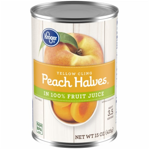 Kroger® Yellow Cling Peach Halves in 100% Fruit Juice Perspective: front
