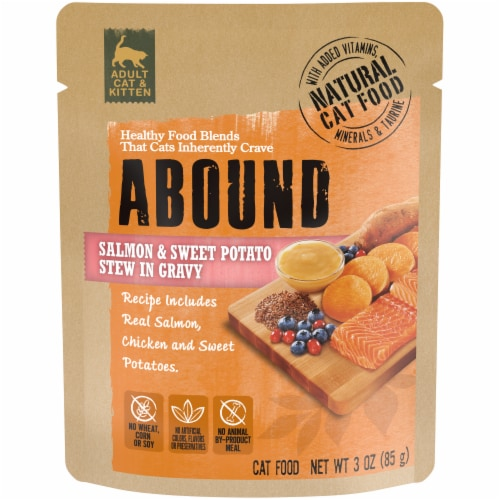 ABOUND Salmon & Sweet Potato Stew in Gravy Cat Food Perspective: front