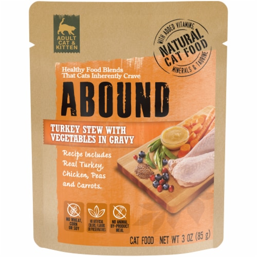 ABOUND Turkey Stew with Vegetables in Gravy Cat Food Perspective: front
