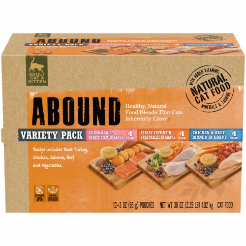 Abound Adult Cat & Kitten Natural Wet Cat Food Pouches Variety Pack Perspective: front