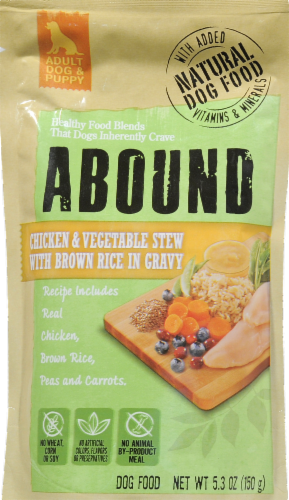 Abound Chicken & Vegetable Stew with Brown Rice in Gravy Wet Dog Food Perspective: front