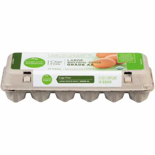Simple Truth Organic™ Cage Free Omega 3 Grade AA Large Brown Eggs Perspective: front
