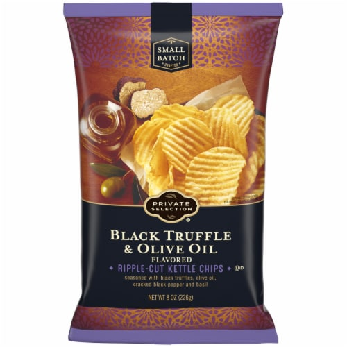 Private Selection® Black Truffle & Olive Oil Ripple-Cut Kettle Chips Perspective: front
