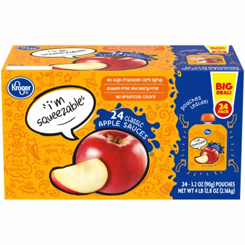 Kroger® Classic Apple Sauce Pouches 24 Count Perspective: front