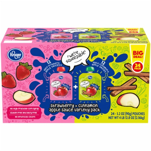 Kroger® Strawberry + Cinnamon Apple Sauce Pouches Variety Pack Perspective: front
