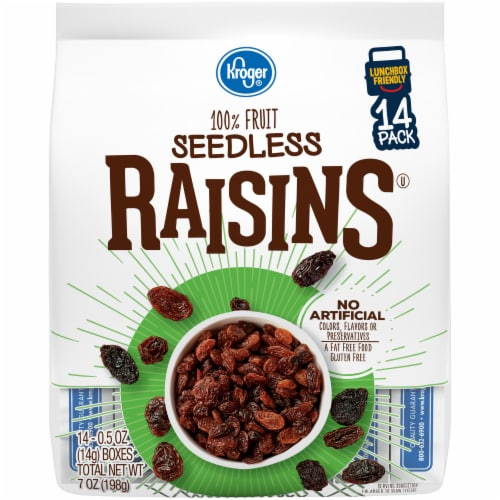 Kroger® Seedless Raisins (14 Pack) Perspective: front