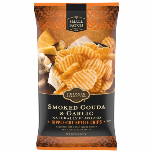 Private Selection® Smoked Gouda & Garlic Ripple-Cut Kettle Chips Perspective: front