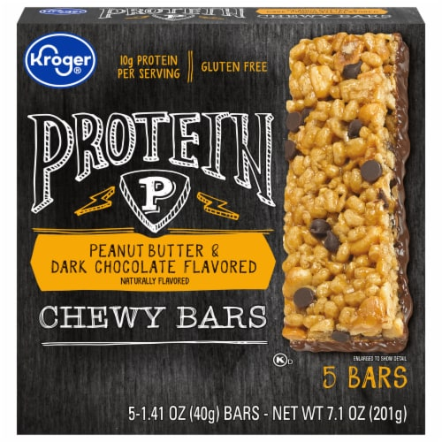 Kroger® Peanut Butter & Dark Chocolate Flavored Protein Chewy Bars Perspective: front