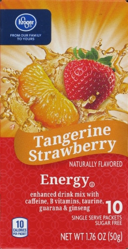 Kroger® Tangerine Strawberry Energy Drink Mix Packets Perspective: front