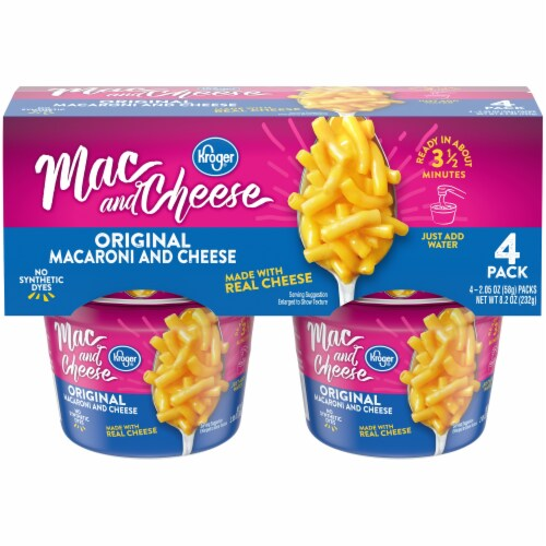 Kroger®  Original Macaroni & Cheese Cups (4) 2.05 oz Package Perspective: front