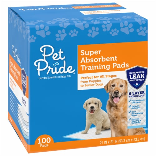 Pet Pride® Super Absorbent Training Pads 100 Count Perspective: front