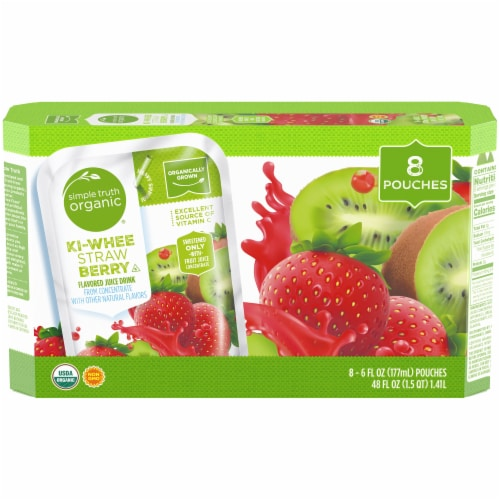 Simple Truth Organic™ Ki-Whee Strawberry Flavored Juice Pouches Perspective: front