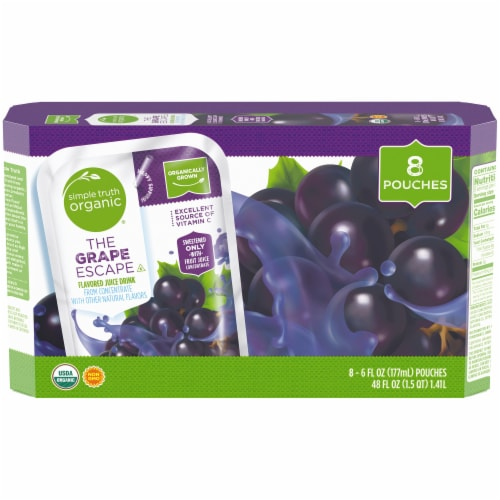 Simple Truth Organic™ The Grape Escape Flavored Juice Pouches Perspective: front