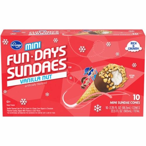 Kroger® Mini Fun Days Sundaes Vanilla Cones 10 Count Perspective: front