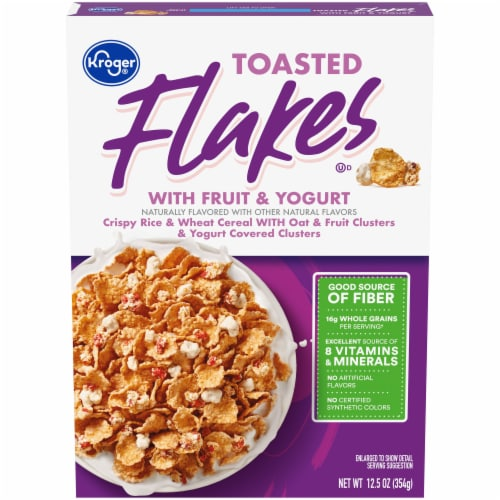 Kroger® Whole Grain Toasted Flakes with Fruits & Yogurt Cereal Perspective: front