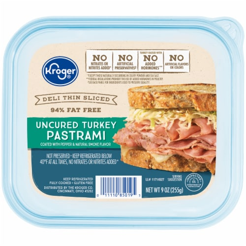 Kroger® Deli Thin Sliced Uncured Turkey Pastrami Perspective: front