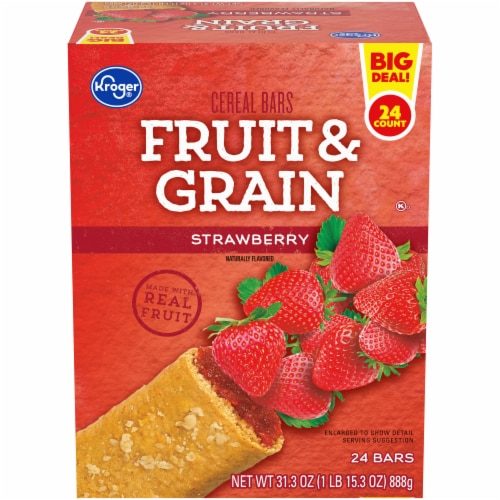 Kroger® Strawberry Fruit & Grain Cereal Bars Perspective: front