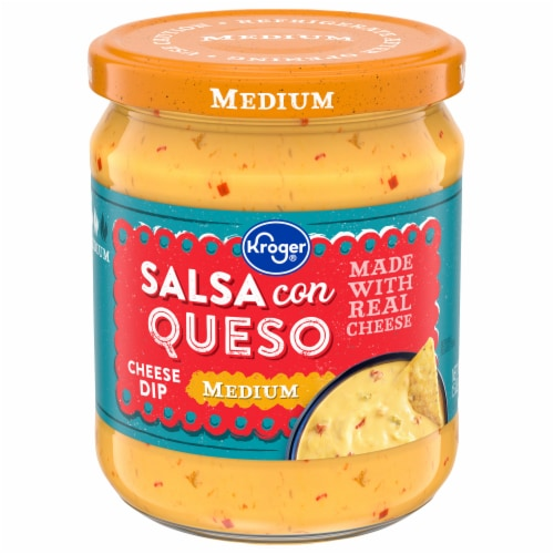 Kroger Medium Salsa Con Queso Cheese Dip Perspective: front