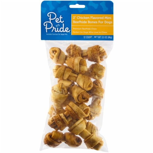 Pet Pride® Beefhide Chicken Flavor Basted Mini Bones for Dogs Perspective: front