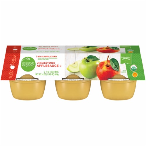Simple Truth Organic™ Unsweetened Applesauce 6-4 oz Cups Cups Perspective: front