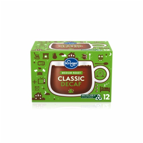 Kroger Classic Decaf Medium Roast Coffee K-Cup Pods Perspective: front