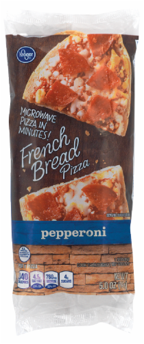 Kroger Microwave in Minutes! Pepperoni French Bread Pizza Perspective: front