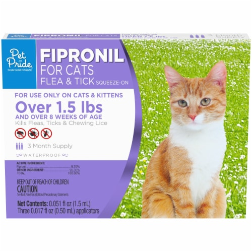 Pet Pride Fipronil Flea & Tick Squeeze-On for Cats Over 1.5 lbs Perspective: front