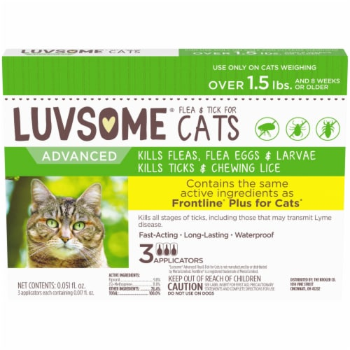 Luvsome® Advanced Flea & Tick Applicators for Cats Over 1.5 lbs Perspective: front