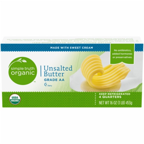 Simple Truth Organic™ Grade AA Unsalted Butter Quarters Perspective: front