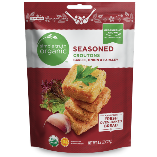 Simple Truth Organic™ Garlic Onion & Parsley Seasoned Croutons Perspective: front
