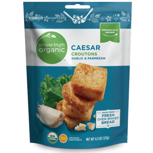 Simple Truth Organic™ Garlic & Parmesan Caesar Croutons Perspective: front