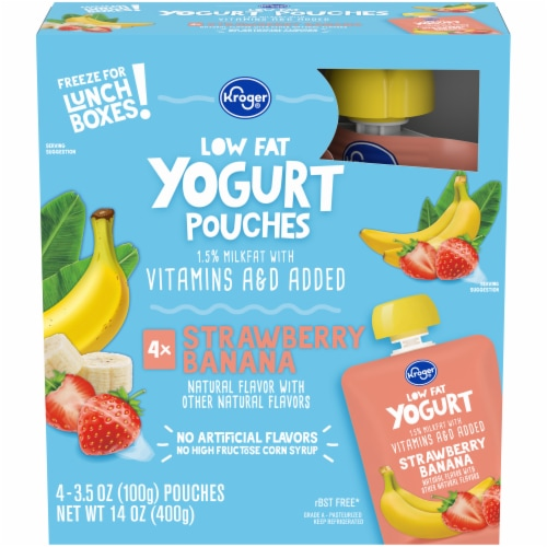 Kroger® Low Fat Strawberry Banana Yogurt Pouches Perspective: front