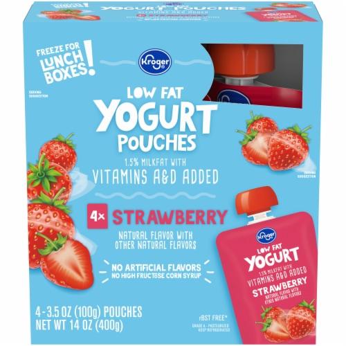 Kroger® Strawberry Lowfat Yogurt Pouches Perspective: front