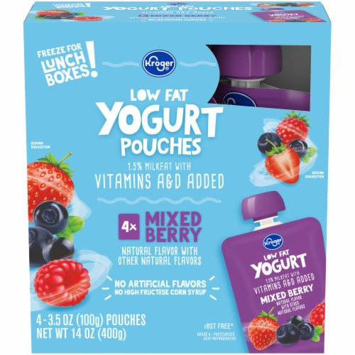 Kroger® Low Fat Mixed Berry Yogurt Pouches Perspective: front