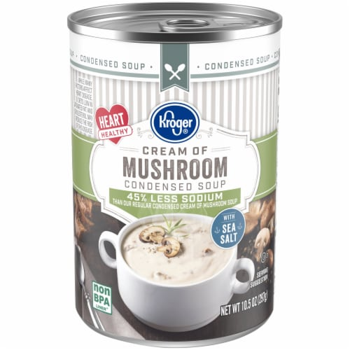 Kroger® Reduced Sodium Cream of Mushroom Condensed Soup Can Perspective: front