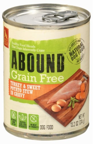 ABOUND™ Grain Free Turkey & Sweet Potato Stew in Gravy Dog Food Perspective: front