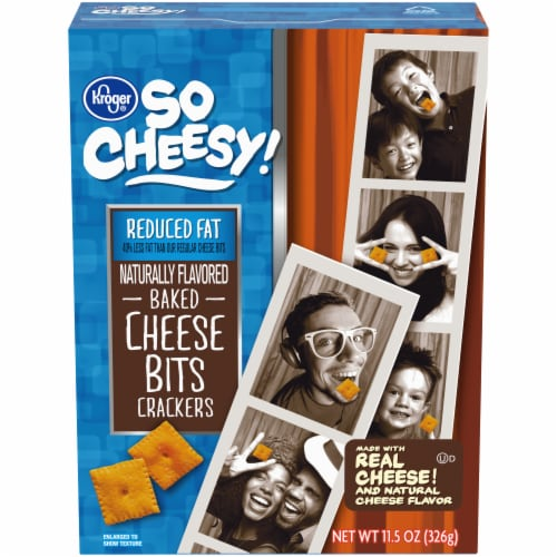 Kroger® So Cheesy! Reduced Fat Baked Cheese Bits Crackers Perspective: front