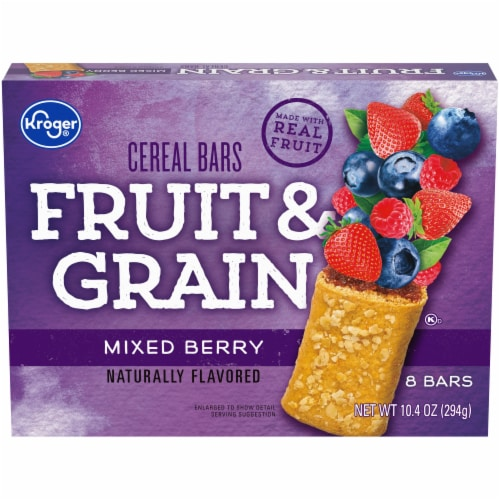 Kroger® Fruit & Grain Mixed Berry Cereal Bars Perspective: front