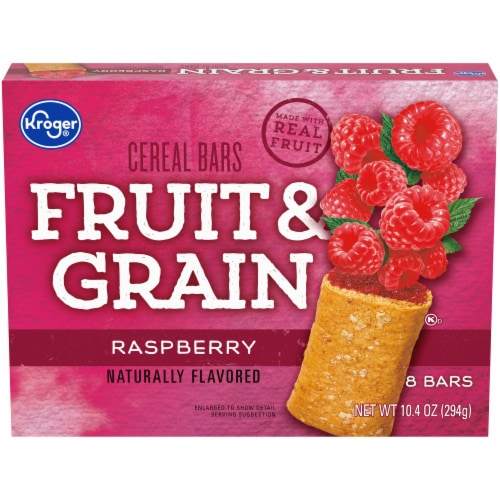 Kroger® Fruit & Grain Raspberry Cereal Bars Perspective: front